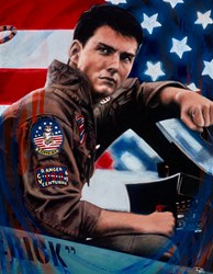 Tom Cruise - Maverick by Pete Humphreys - Original Painting on Stretched Canvas sized 28x36 inches. Available from Whitewall Galleries